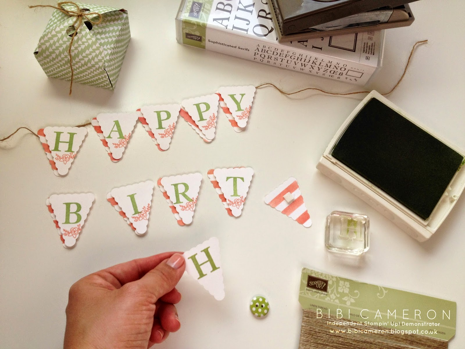 PLANT POT MINI BUNTING ♥  SOPHISTICATED SERIF AND PETITE PENNATS PUNCH FROM STAMPIN UP
