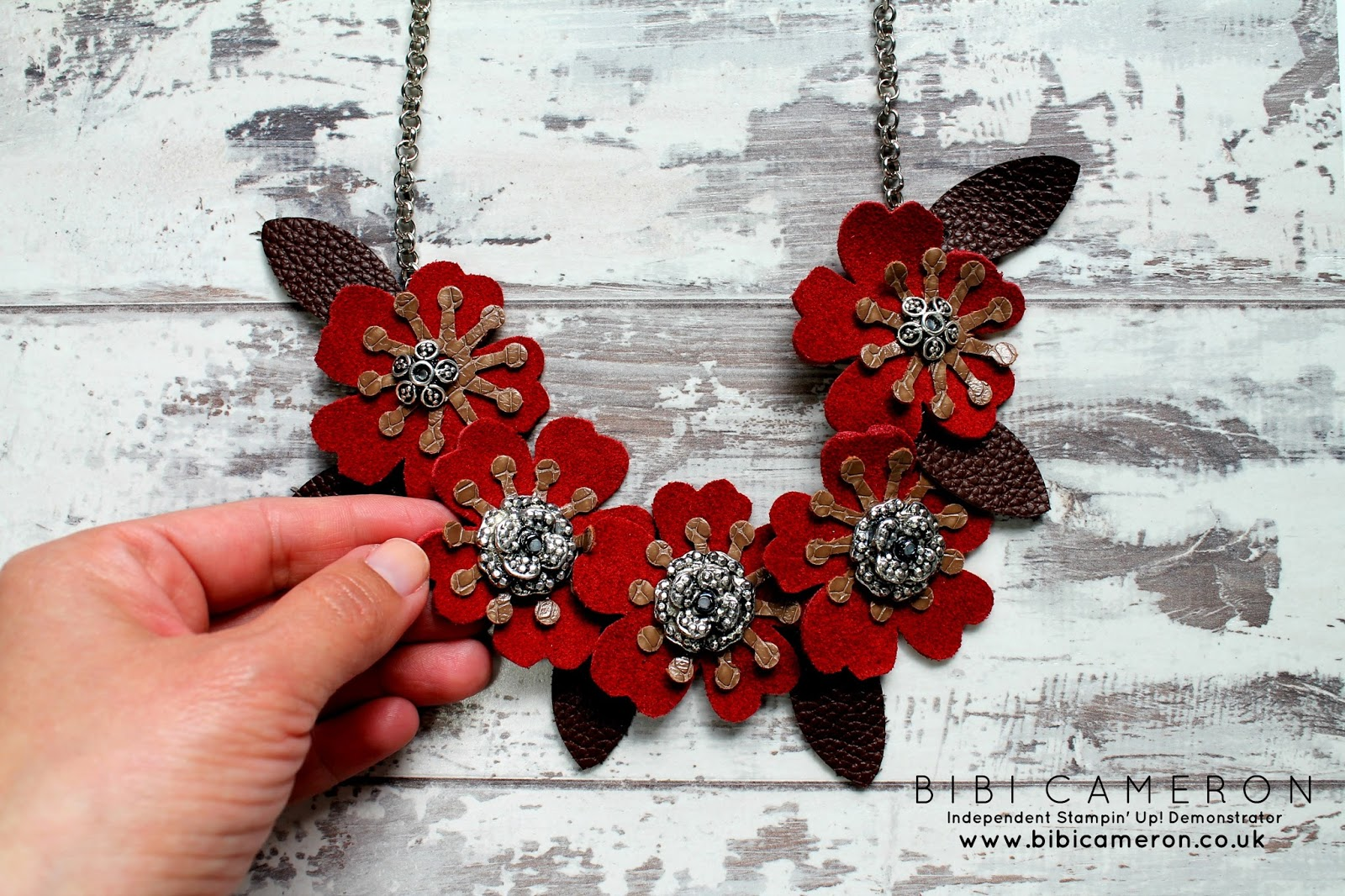 Stampin Up Bouquet Bigz L die to make a leather necklace or accessories for Harris tweed products
