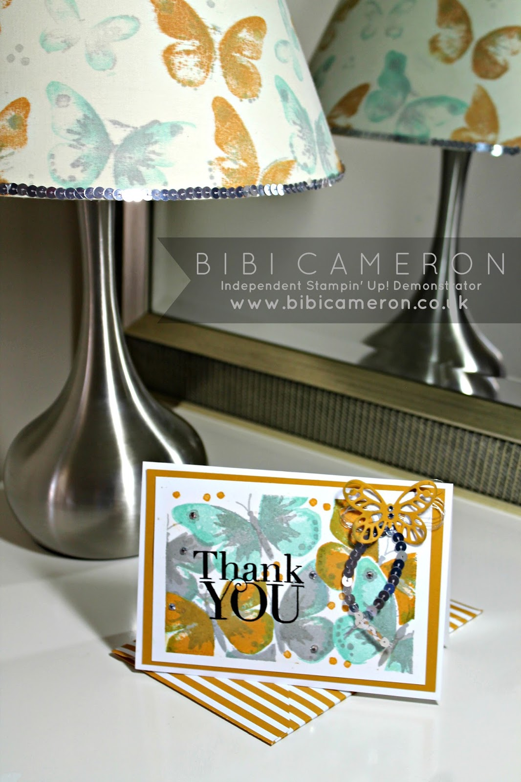 Watercolour wings easy card background + Lampshade Stampin' Up! #tgifc15