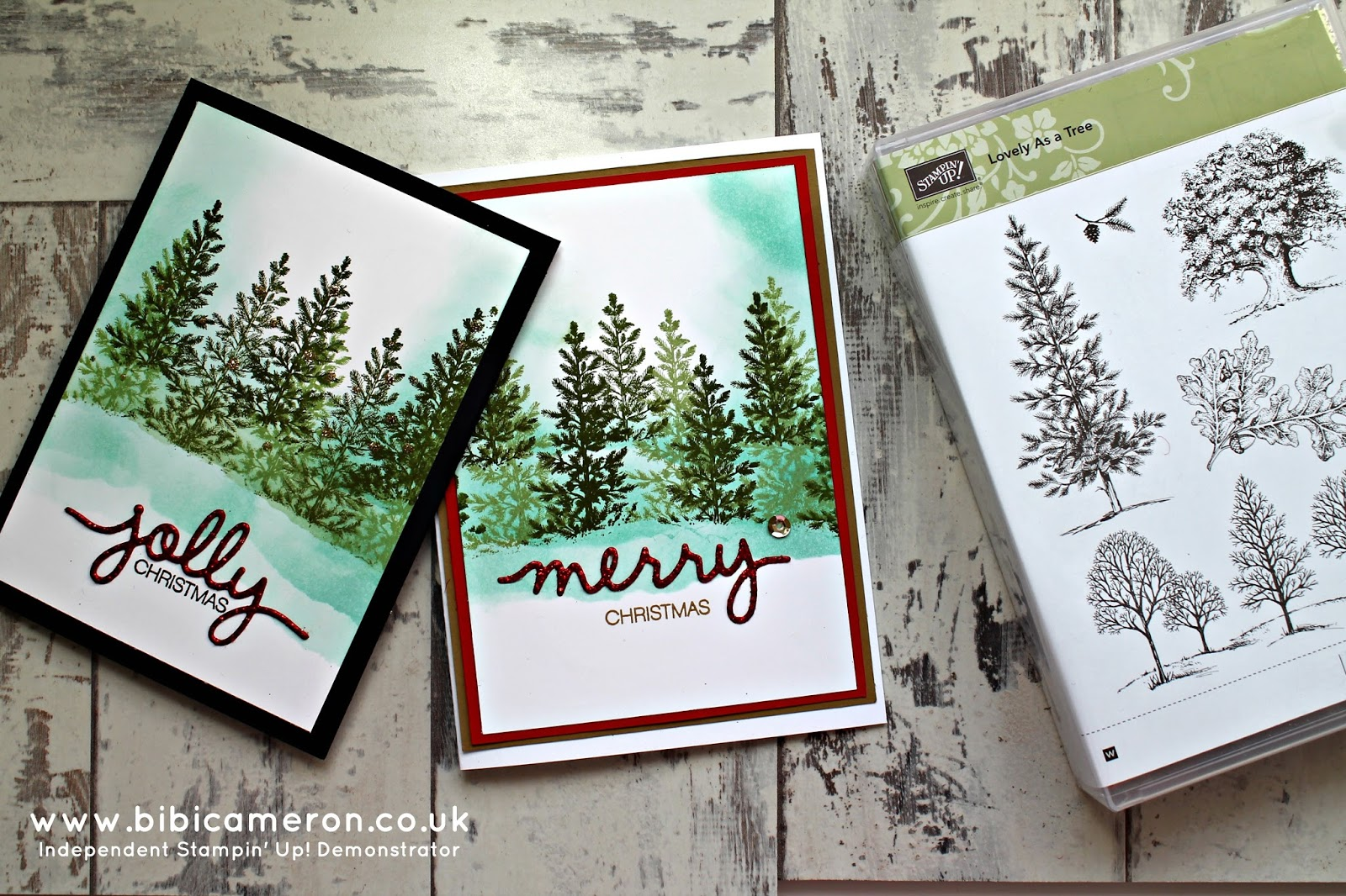 Stampin' Up!  Lovely as a tree stamp set and Christmas Greetings Thinlits Dies