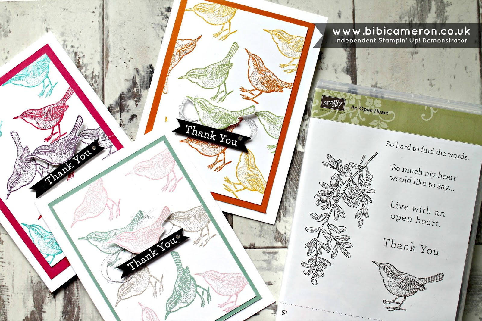 Bird thank you cards with An open Heart Stamp set from Stampin Up