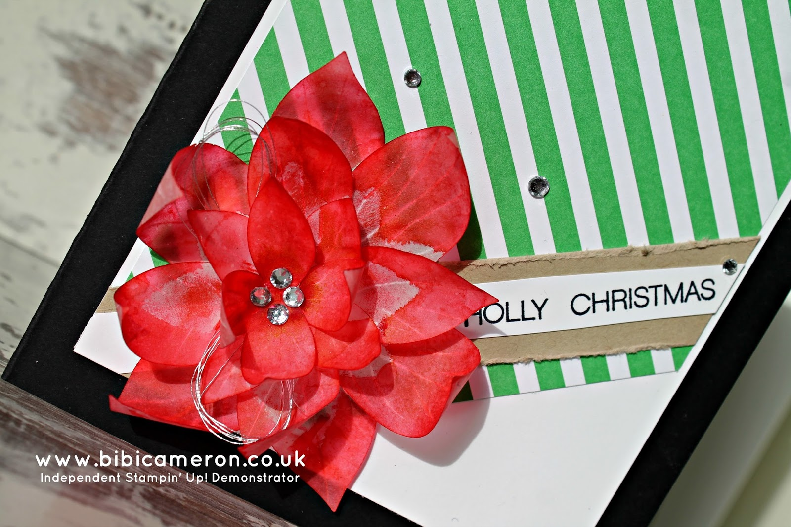 Poinsettia Christmas card – Festive Flower Builder Punch Stampin Up #GDP006 sketch challenge