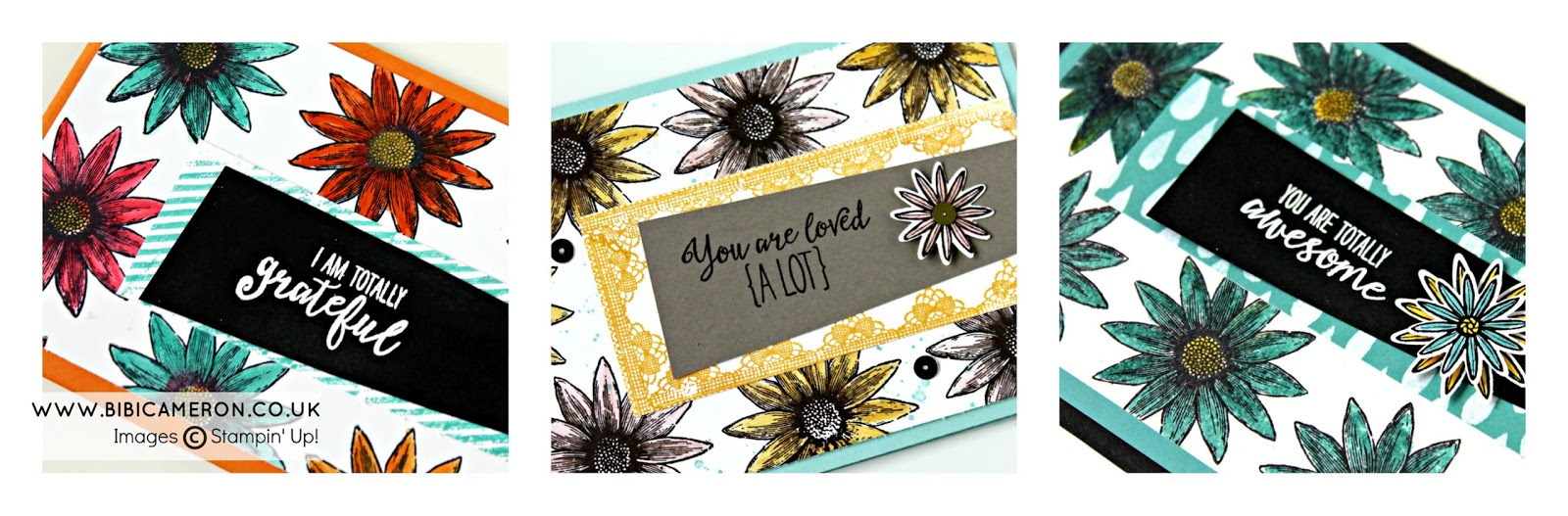 GRATEFUL BUNCH STAMPIN' UP! THANK YOU CARDS IDEA IN 3 DIFFERENT COLOUR COMBOS