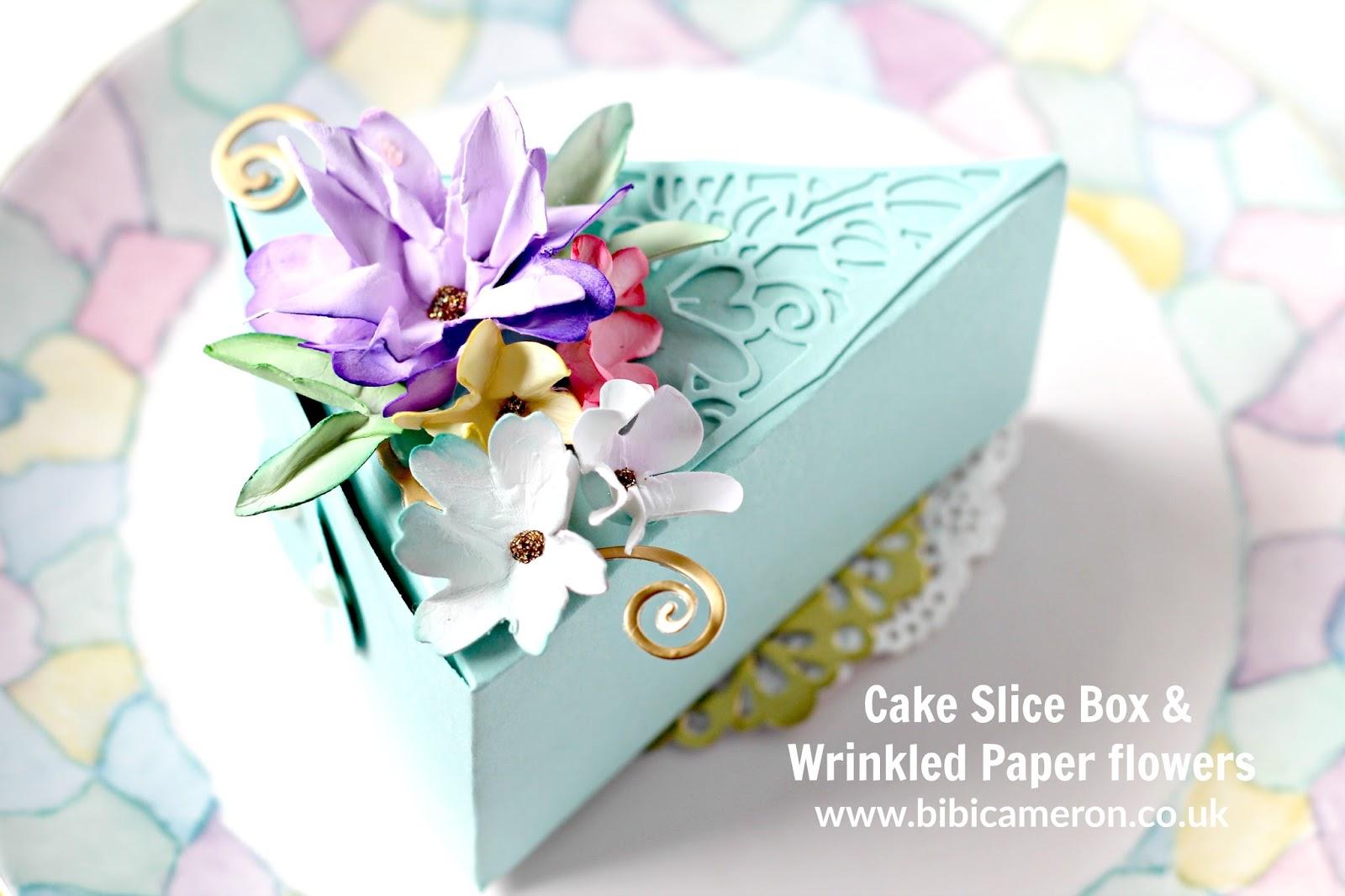 Cake Slice  Box & Wrinkled Paper flowers | SIP Challenge 93