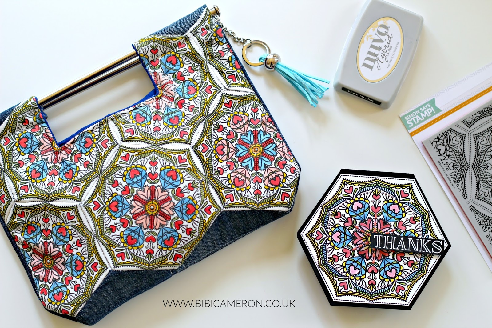 Stamping quilting fabric with SSS Cora Stamp Background