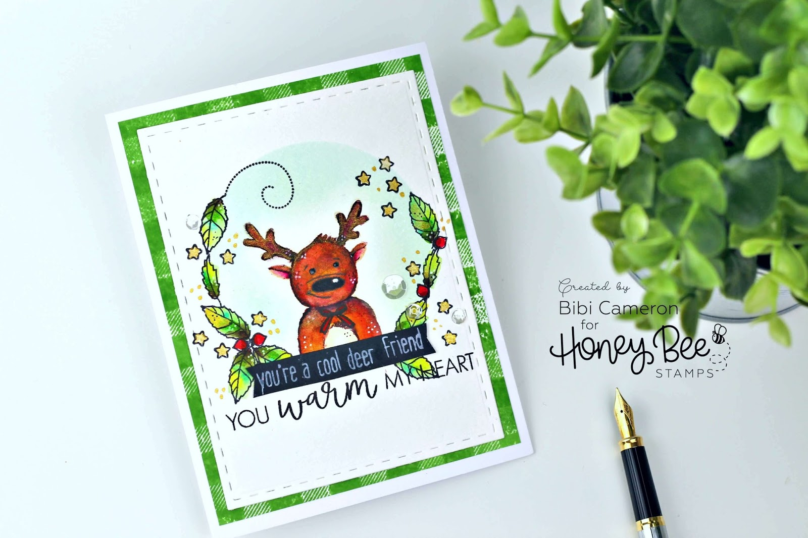 Deer Christmas Card idea with Honey Bee Stamps