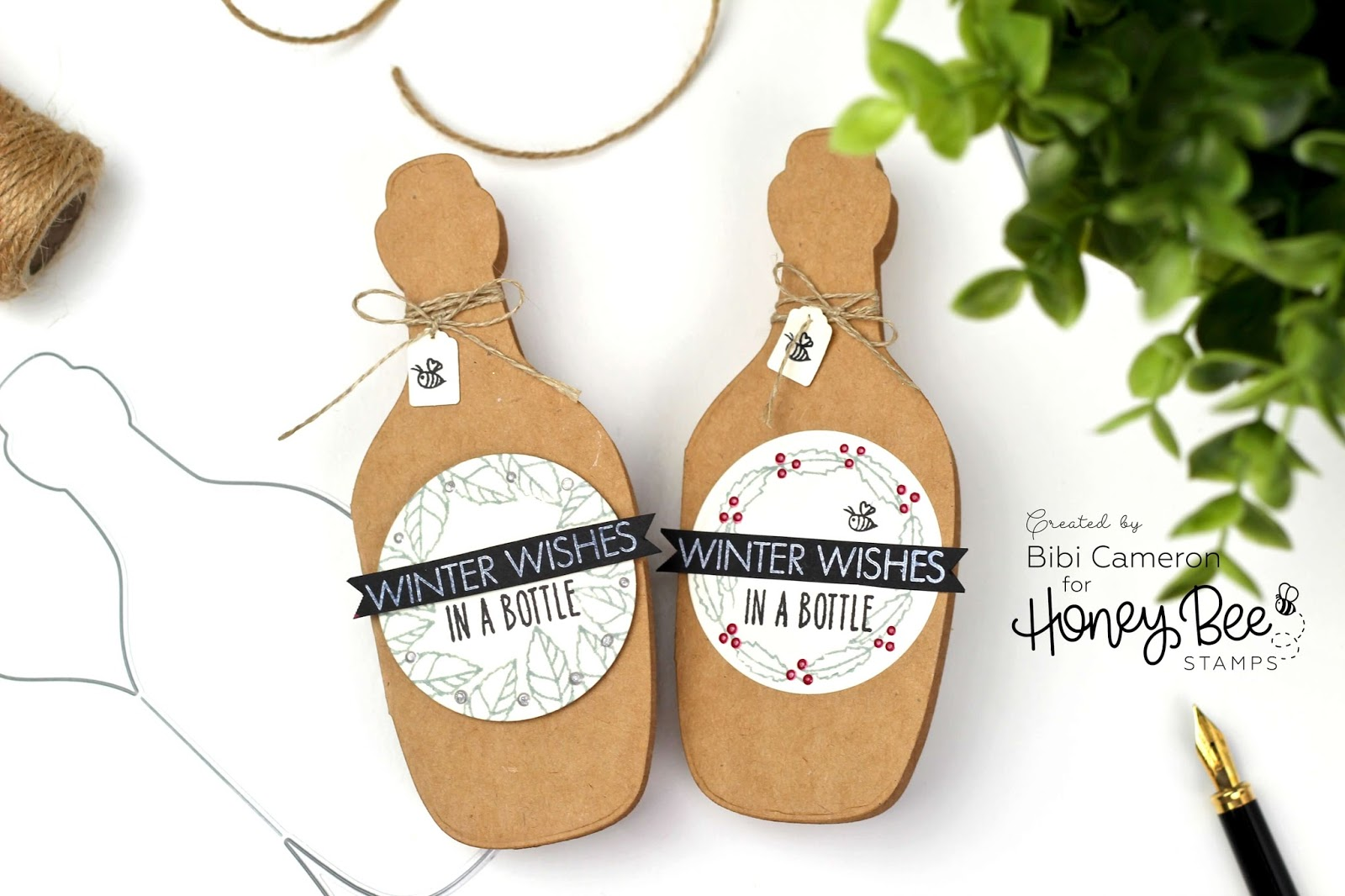 Easy Bottle Shaped Christmas Wine Tags