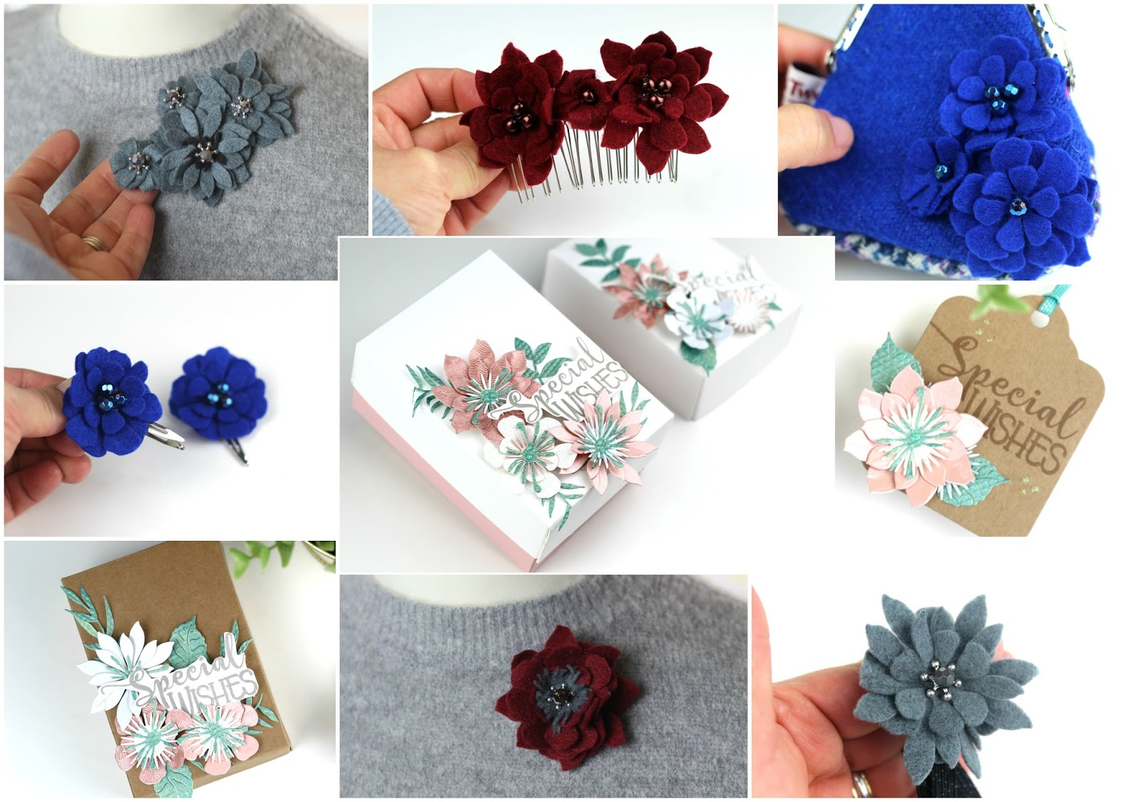 9 easy ideas with floral dies| Felt -Beads and Paper Flowers Tutorial