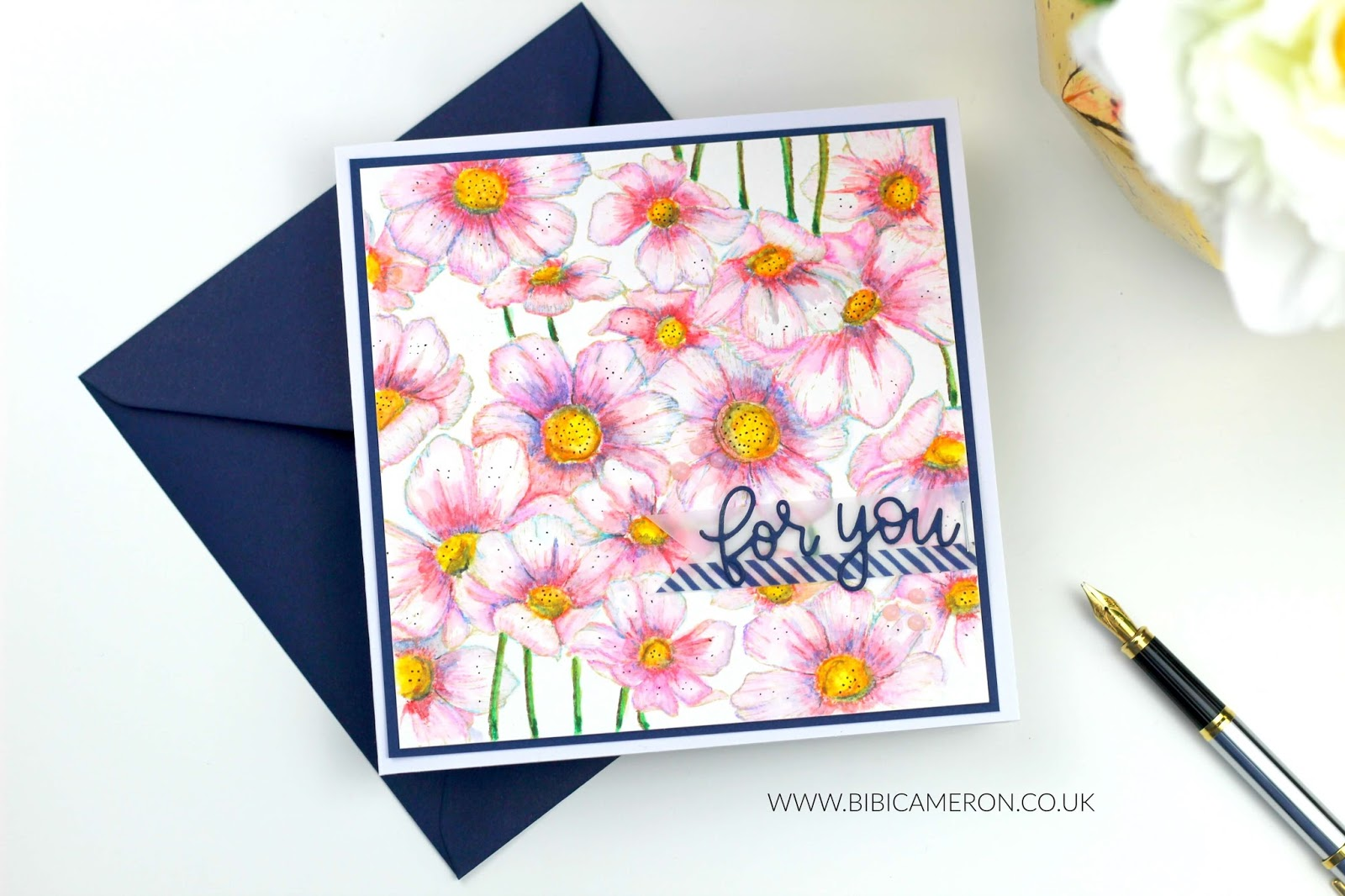 Nuvo Watercolor pencils  looks good on Cosmos Background Stamp by Simon Says Stamp