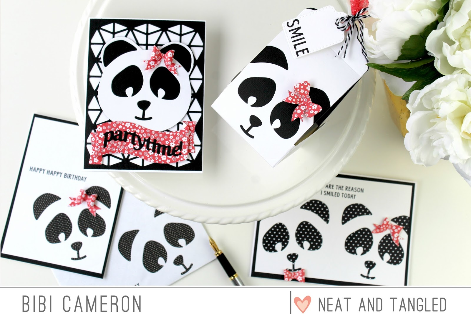 Panda Cupcake box and cards | Neat and Tangled and Tonic Studios collaboration