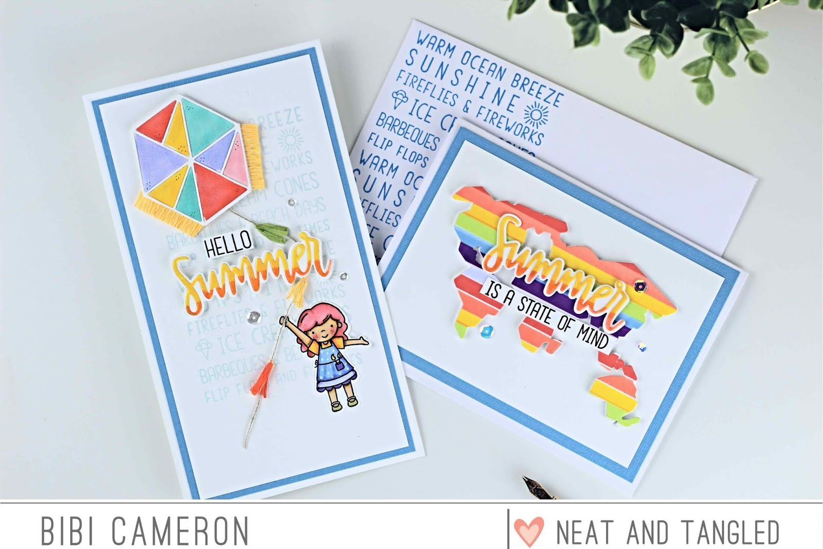 Easy rainbow summer cards with alcohol markers
