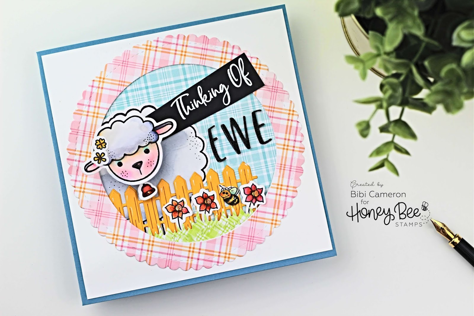 Lily the lamb by Honey bee stamps | kids cards with wobble action spring
