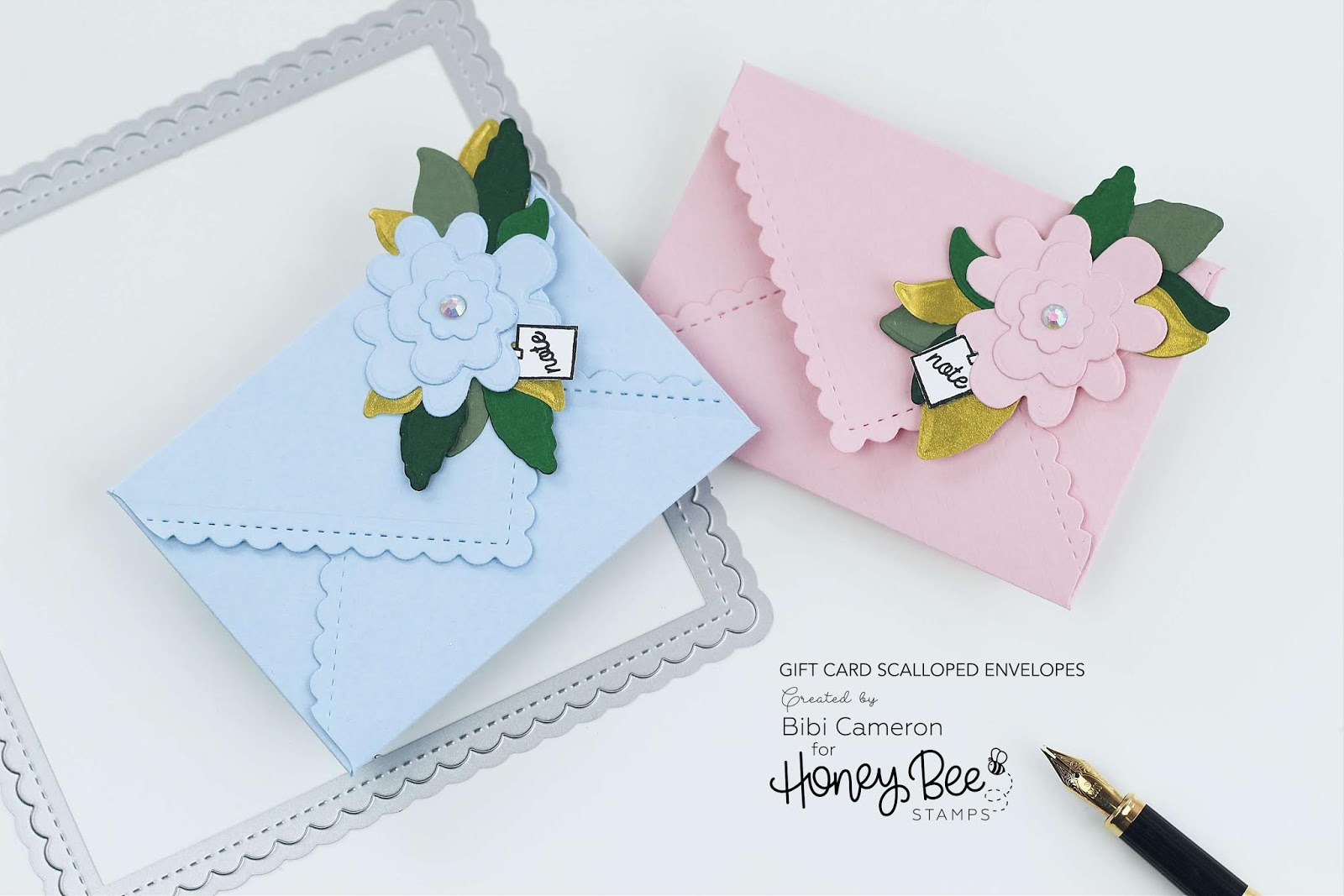 Mini Scalloped Envelopes with Stitched Scallop Square Dies by Honey Bee Stamps