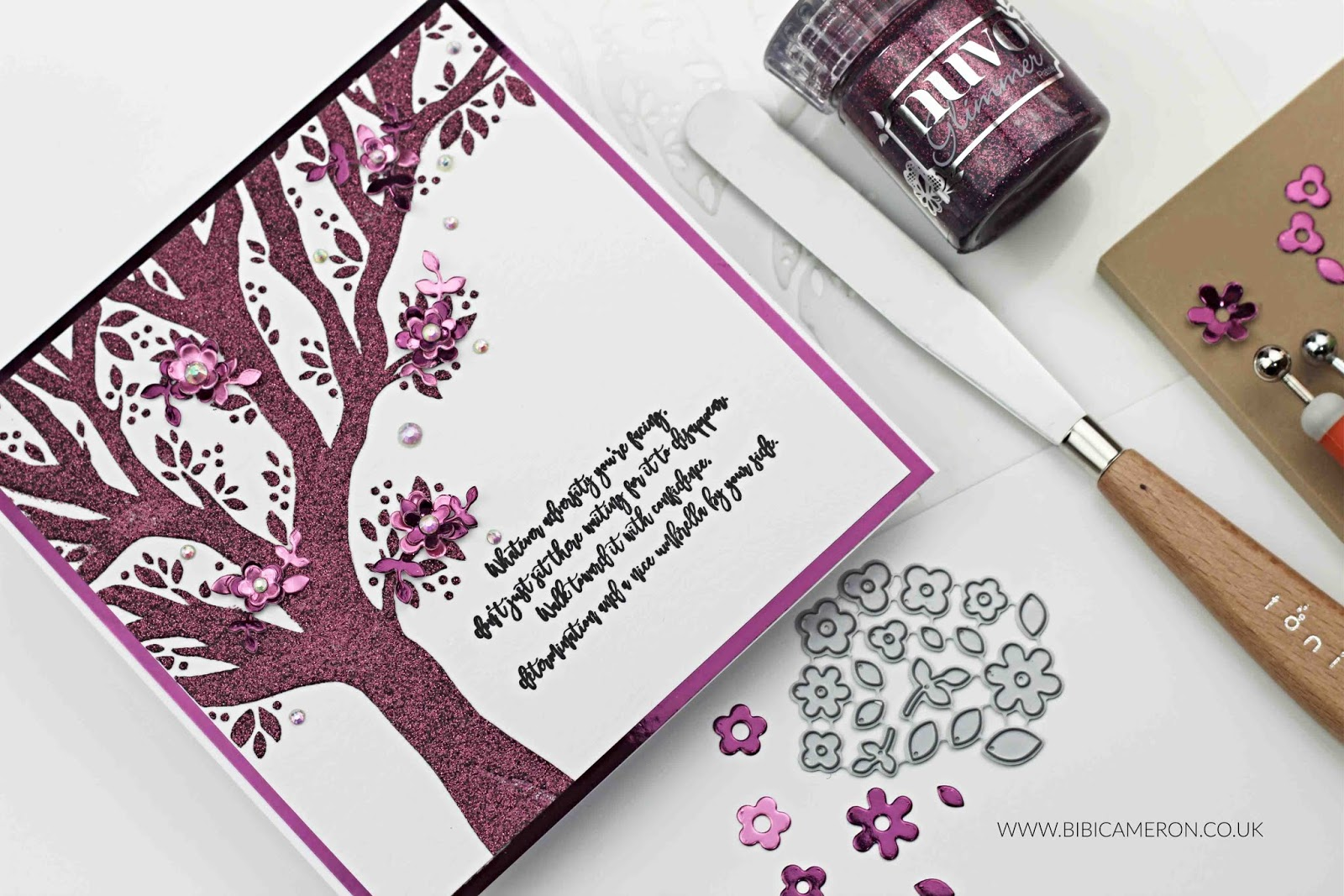 New Beginnings Tree  Stencil + Nuvo Glimmer Paste