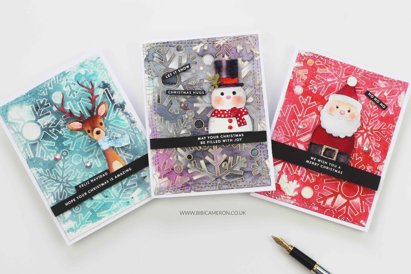 Christmas cards with Picture Book Dies and Outline Snowflake background by Simon Says Stamps