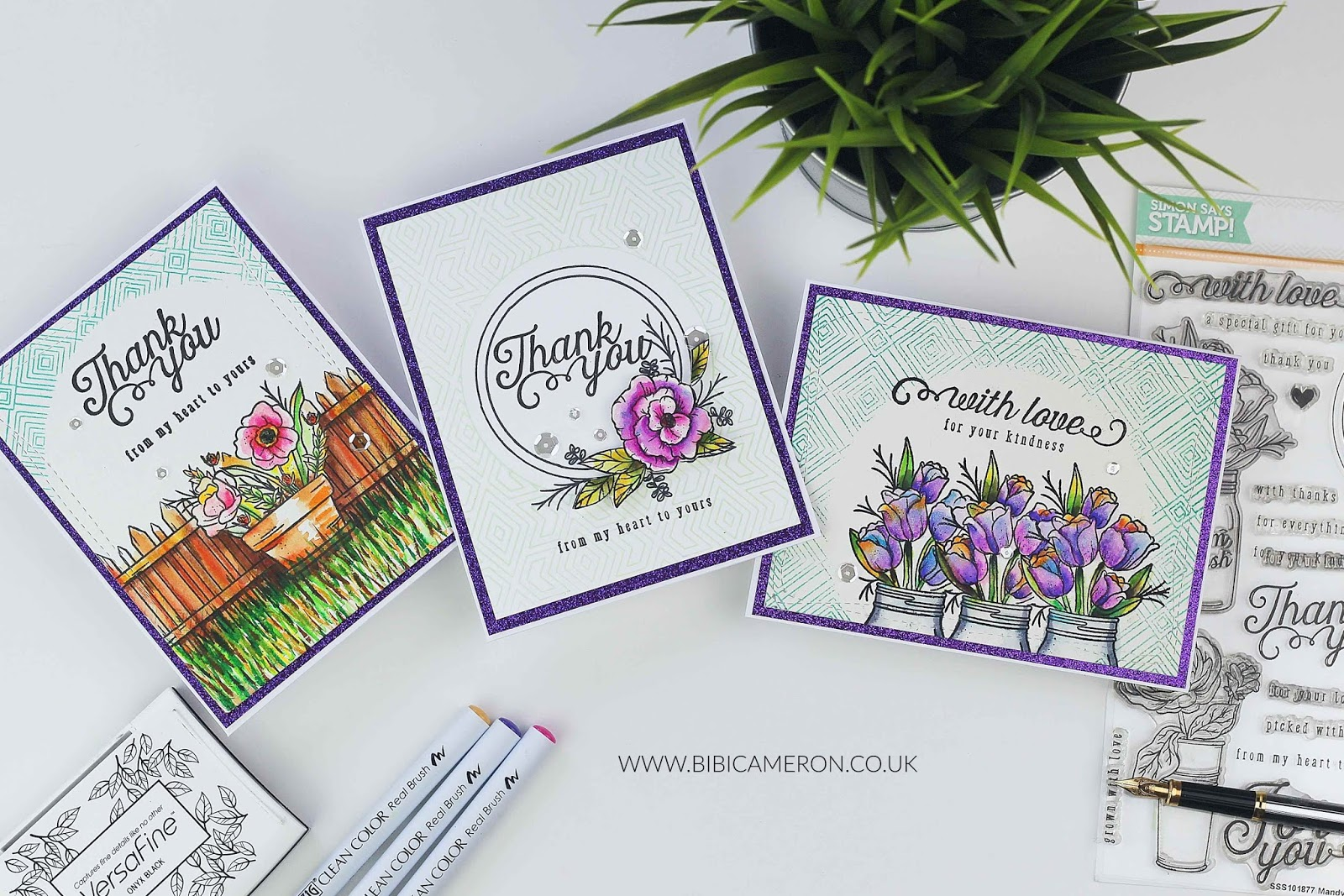 Thank You Cards with SSS Mandy's Flowers Stamp Set + Nuvo watercolor pencils