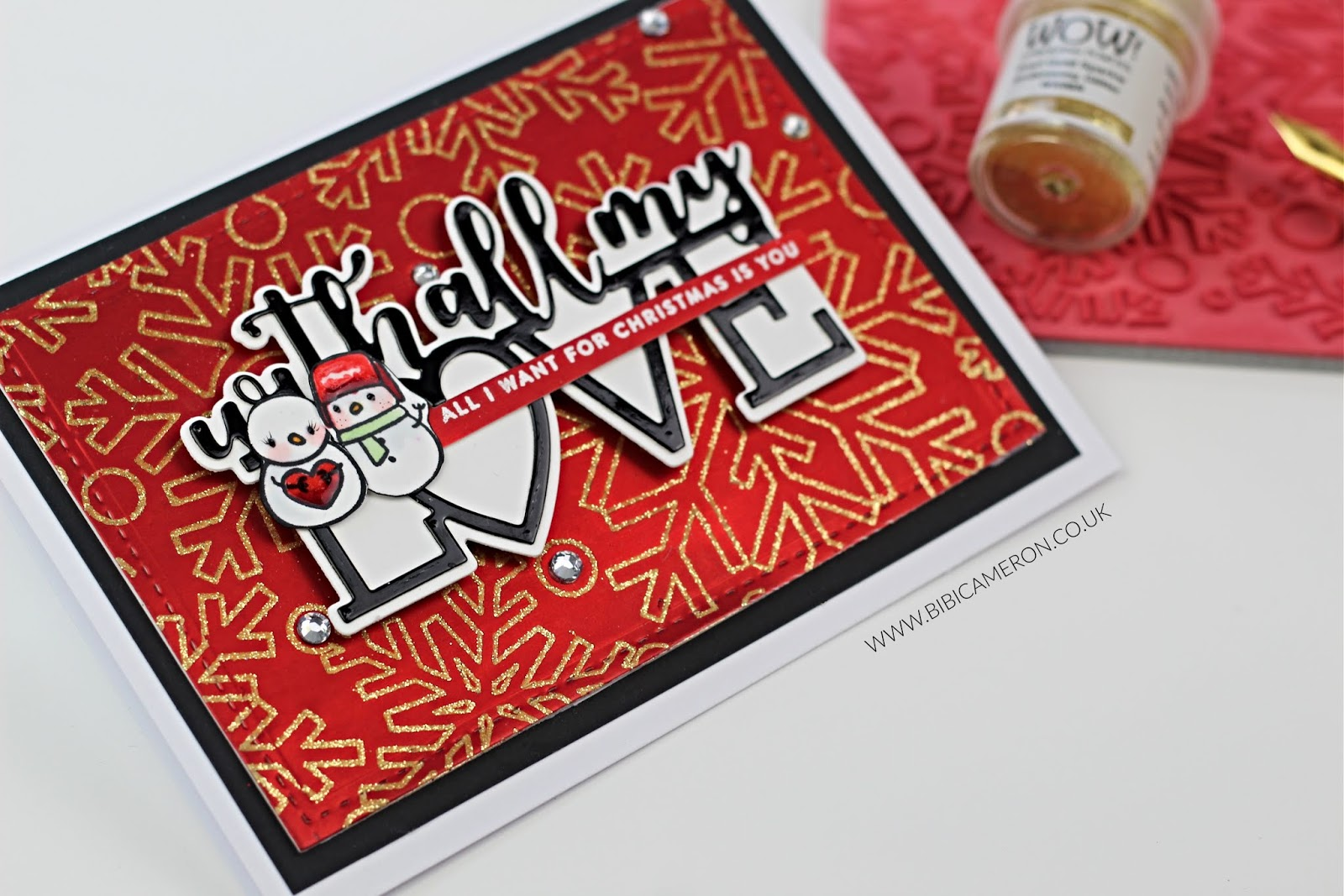 Snowman Xmas – Love Card using  the waste from other projects