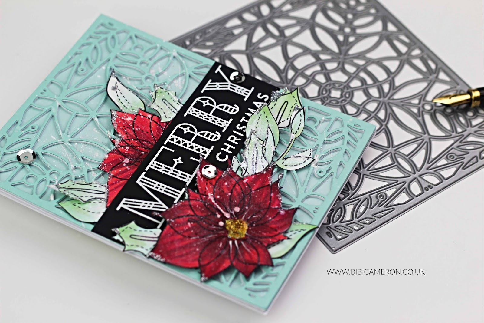 SSS Marilyn Full Card Cover Plate and Winter Flowers | Christmas Card