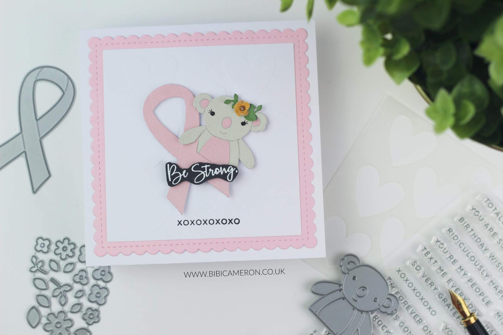 Be Strong Card |  Awareness Ribbon and Koala picturebook die.