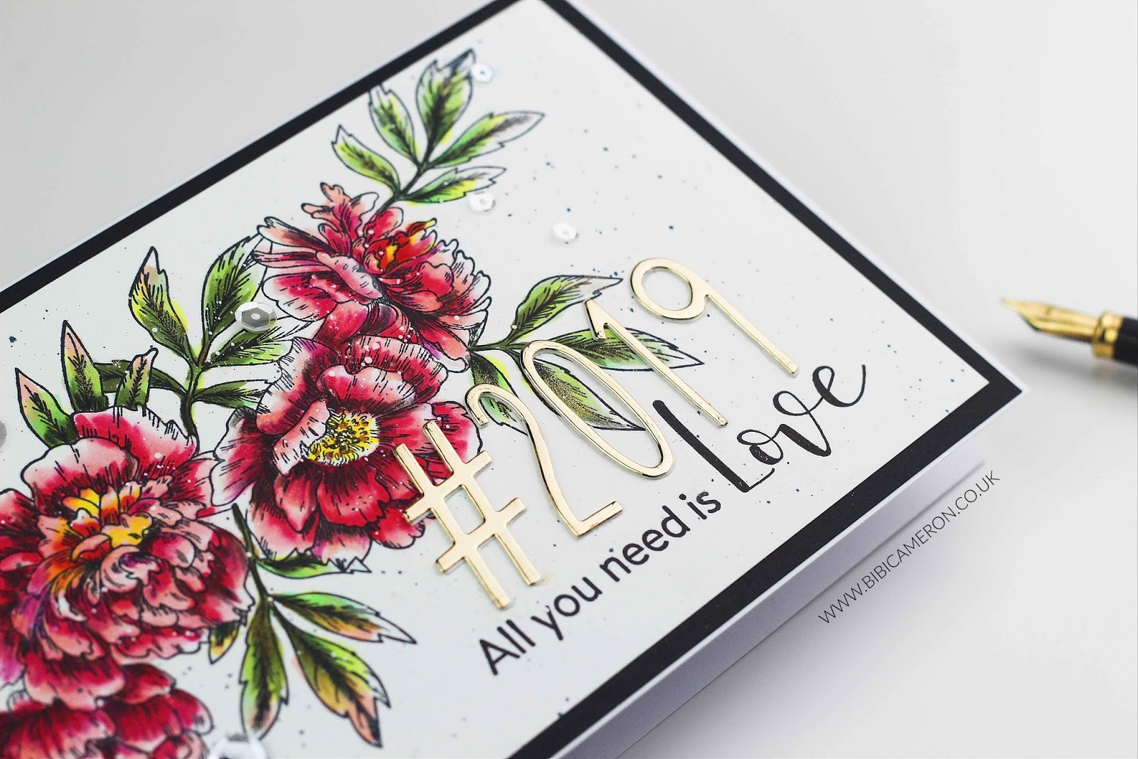 Beautiful; Flowers Happy New Year handmade card / calendar cover  | All you need is love 2019