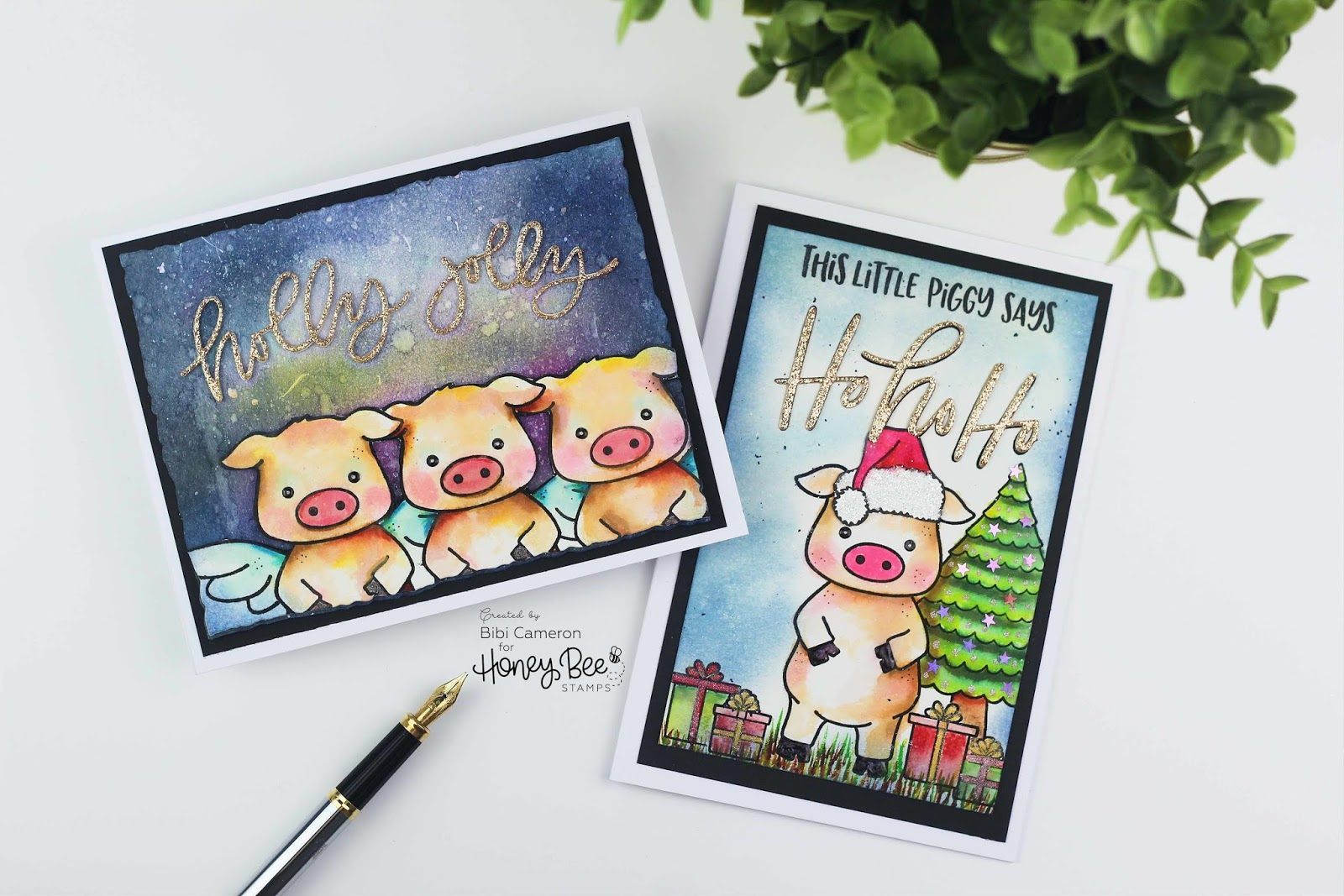 This little piggy says Merry Christmas | Honey Bee Stamps