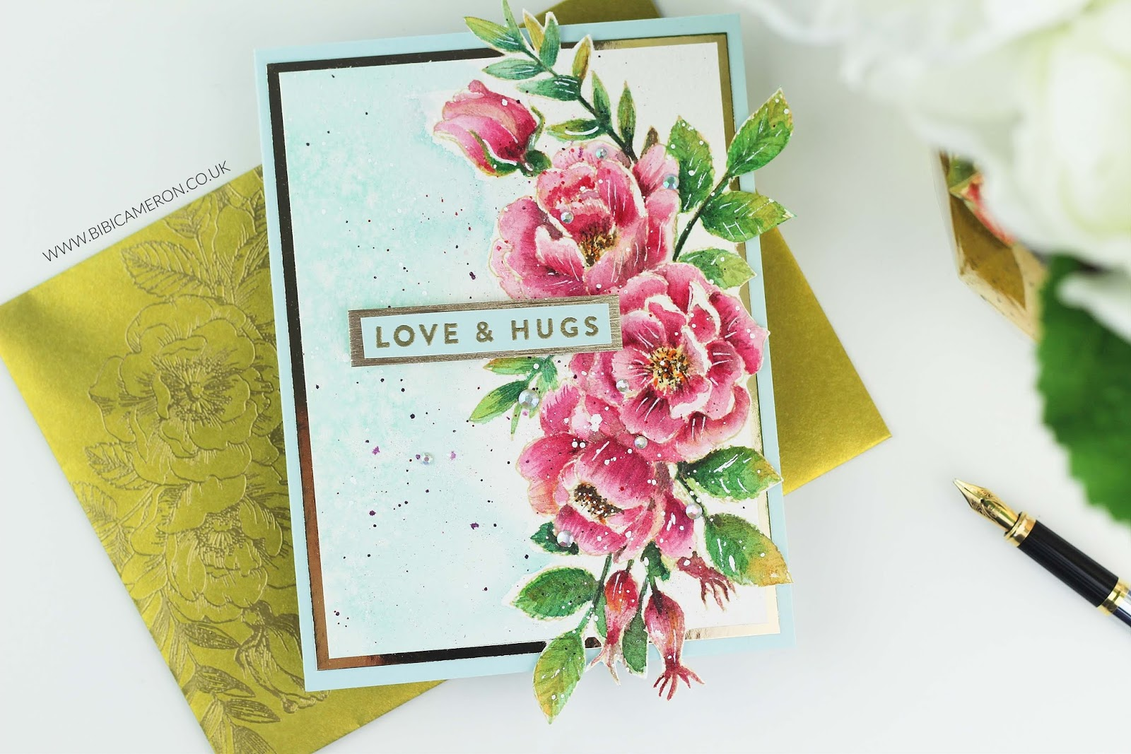 Beautiful Flowers no-line coloring | Kuretake Gansai Tambi watercolours