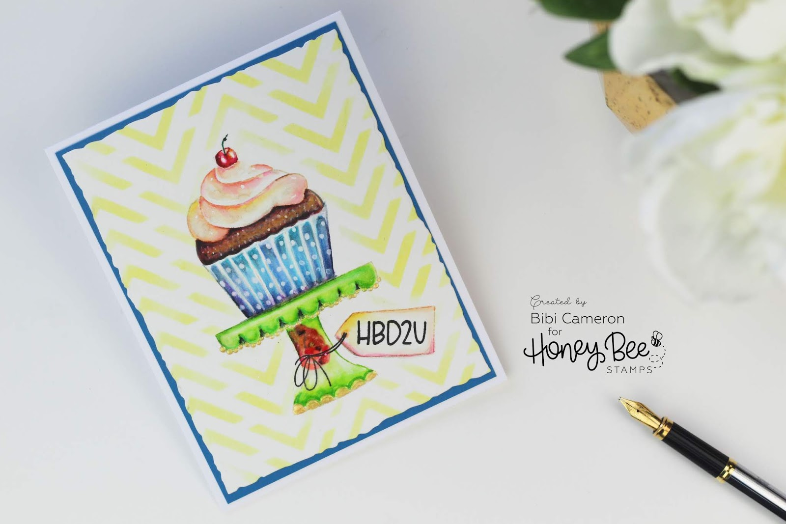 Watercolor Cupcake | Piece of Cake Stamp Set by Honey Bee Stamps