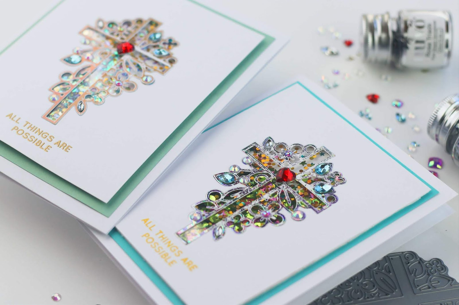 Beaded Foiled Shaker cards with Outline Floral Cross by Simon Says Stamp
