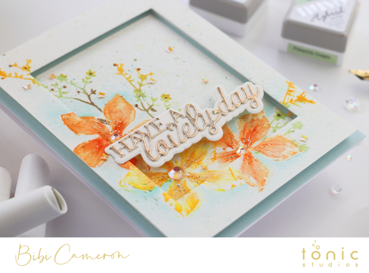 Framed Watercolor Card | Nuvo Aqua Flow pens tips and Woodland Walk Colour Collection Sneak Peek