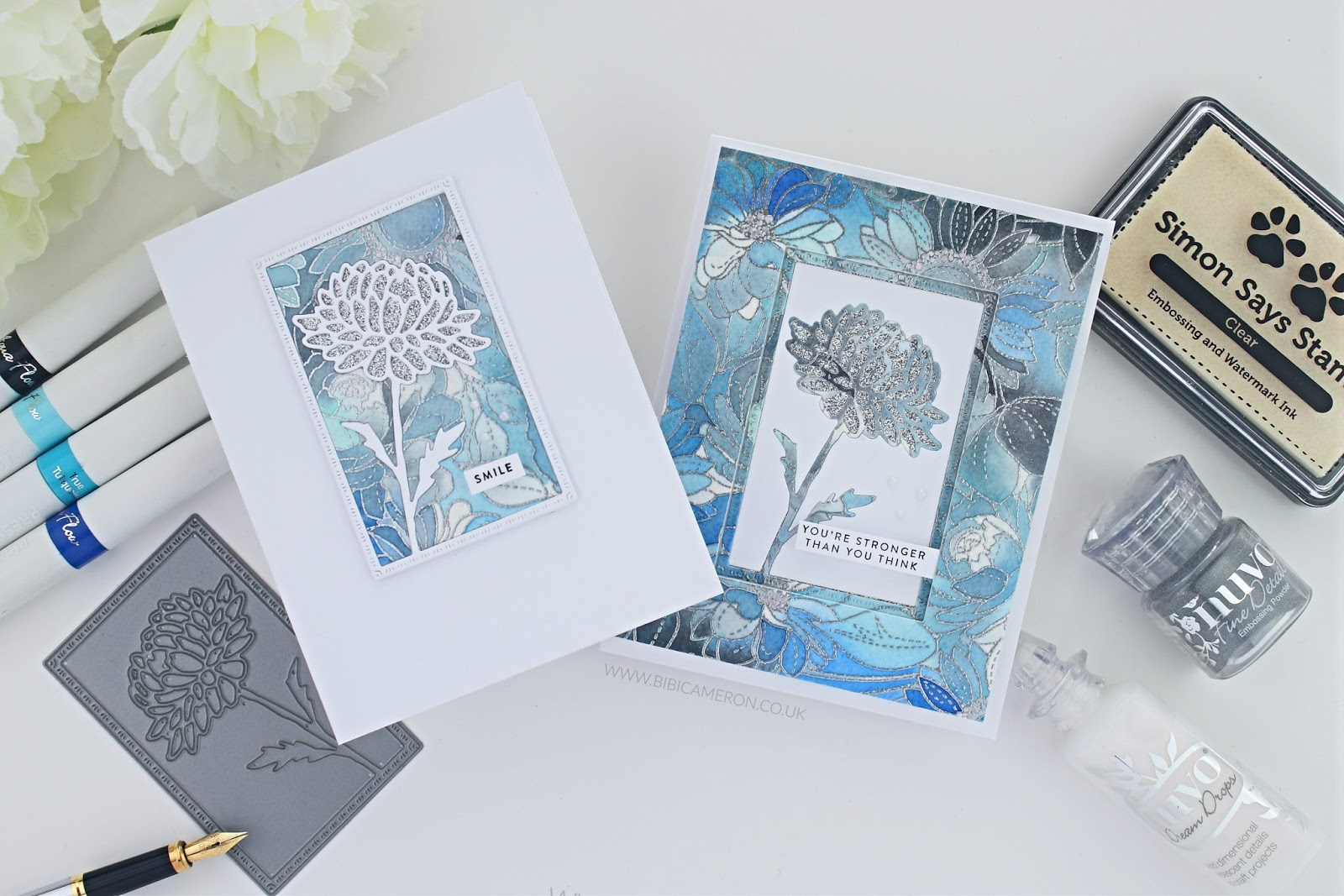 Simon Says Stamp Blossoms & Butterflies Blog Hop + Giveaway | Dahlia Frame Die and Floral Mix Background
