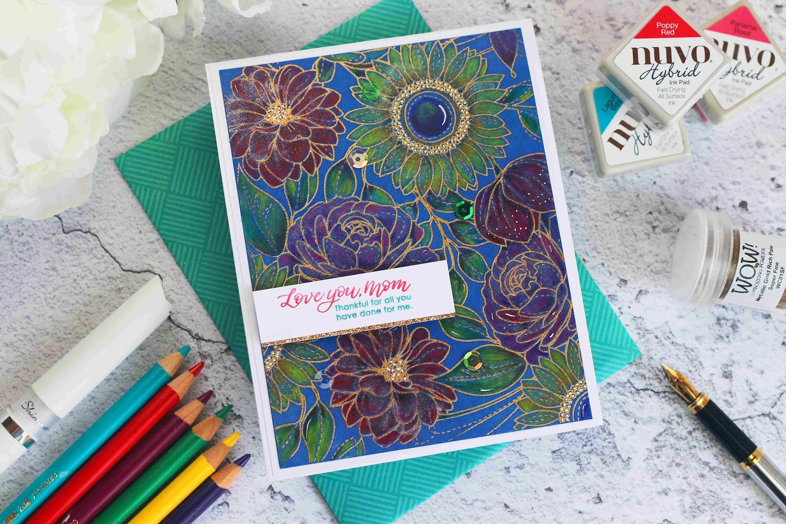 Mother's day Card with Polychromos on Heat Embossed Background | Floral Mix by Simon Says Stamp