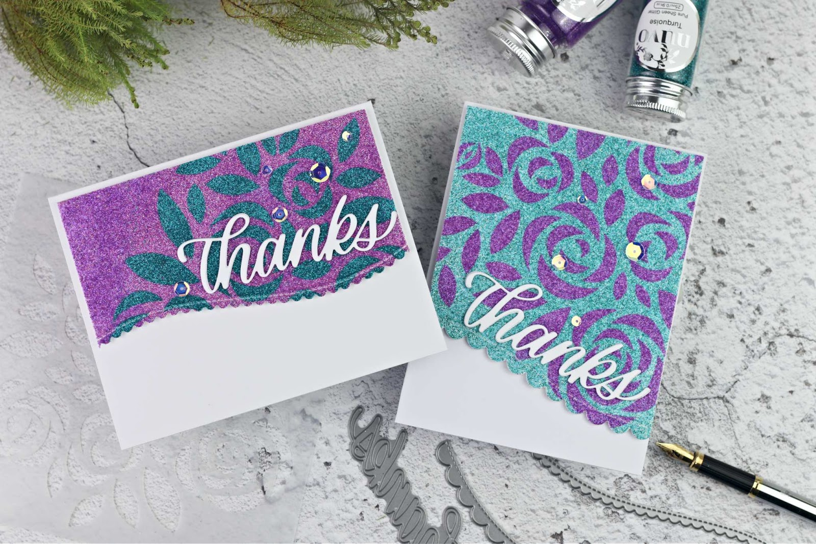 DIY Glitter Patterned Paper Using Stencils and Masks by Simon Says Stamps