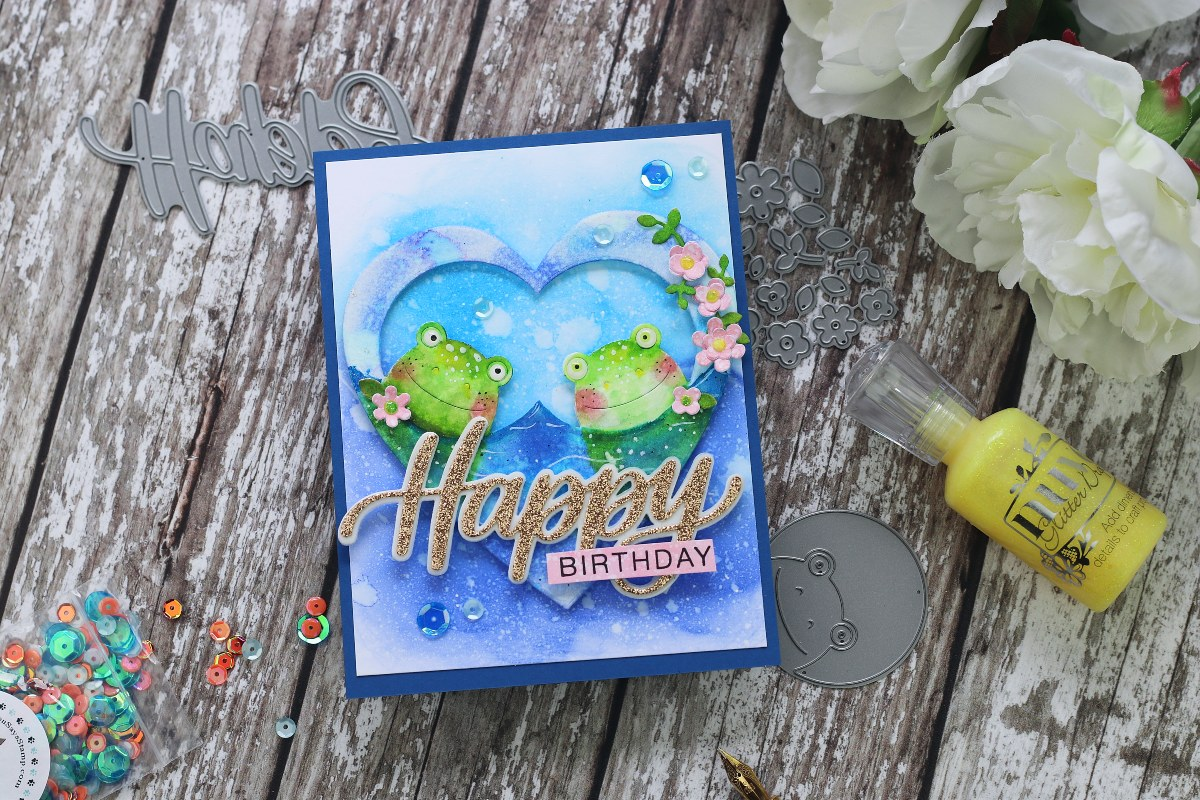 Birthday Card + Peeking  Frog Wafer die by Simon Says Stamp