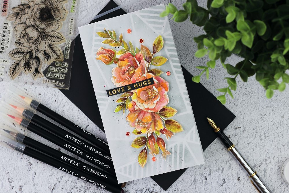 Beautiful Flowers by Simon Says Stamp + watercolours