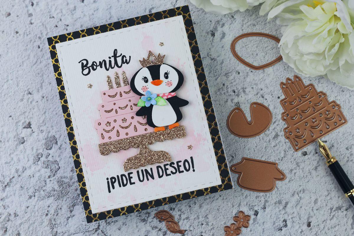 Handmade Die Cut Penguin Birthday Card + Celebrate with Cake die set by Spellbinders