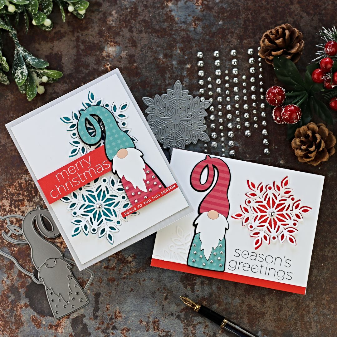 Christmas Cards with Gnome and Marie Snowflake Dies by Simon Says Stamp