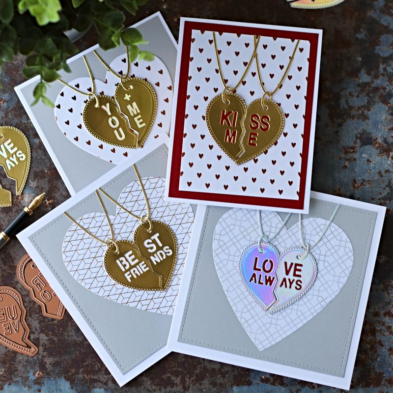 San Valentine Split Heart Necklace Card | Spellbinders Large Die January 2020