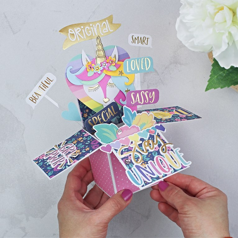 Spellbinders Kit of the Month February 2020 | Unicorn Pop Up Exploding Box Card
