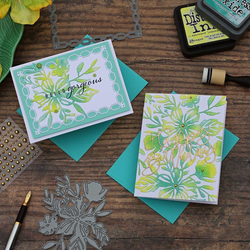 Distress Ink Die Cuts | Bouquet Backdrop Die Papertrey Ink