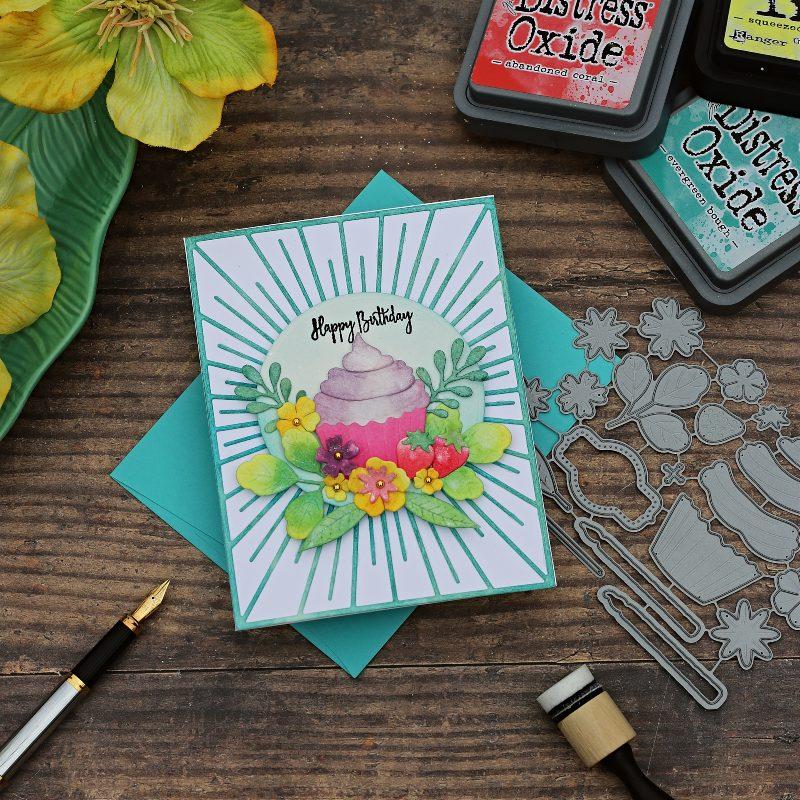 Distress Ink Watercolour Die Cuts | Sweet Celebrations Cupcake die by Papertrey Ink