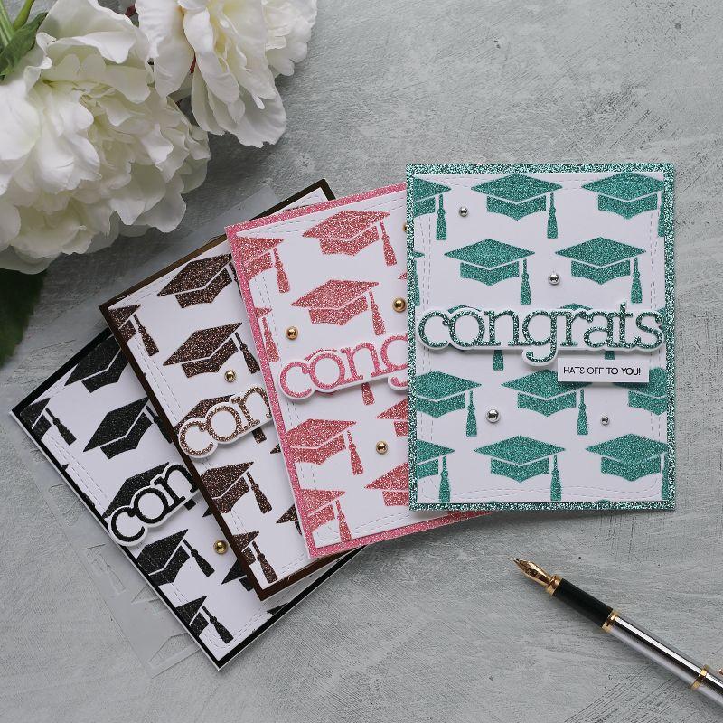 Simple Sparkling Graduation Handmade Cards | CZ Design Stencil Grad Caps