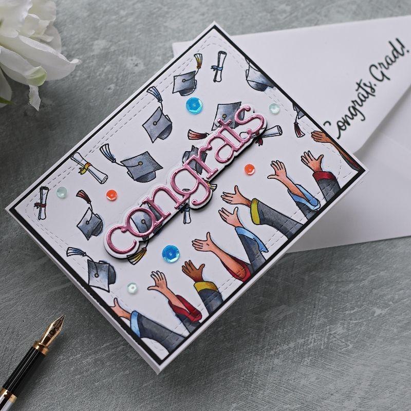 Hats Off Grad by Simon Says Stamp | Graduation Card #SSSSunnydaysahead