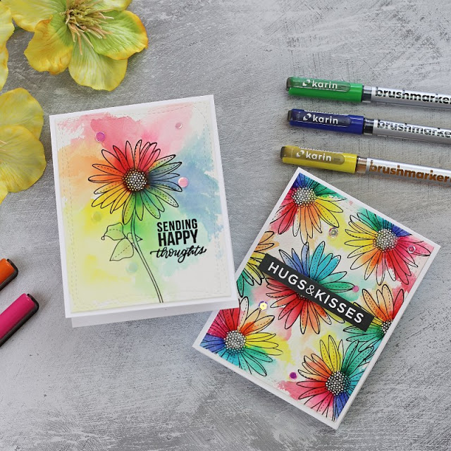 Rainbow Watercolour Spring Flowers 4 by Simon Says Stamp