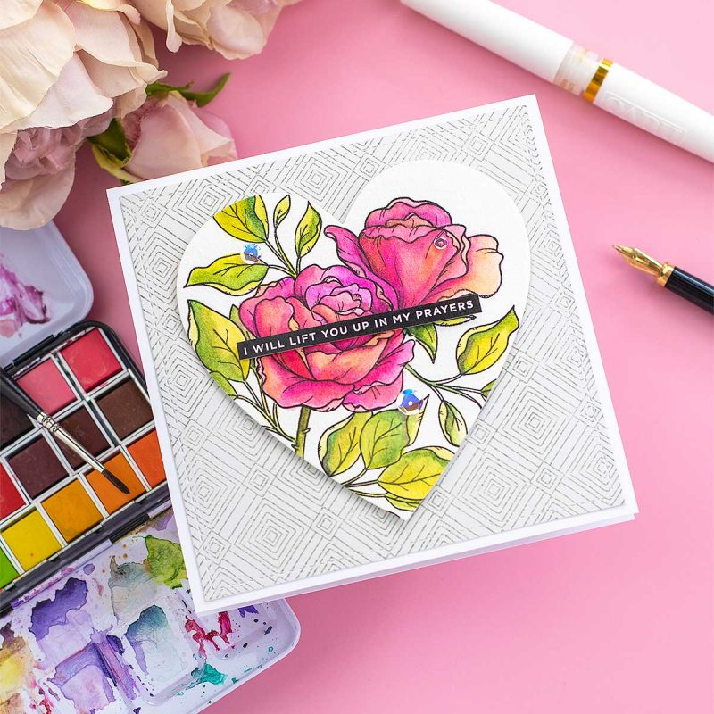 Watercolour Roses Card SSS Be My Valentine