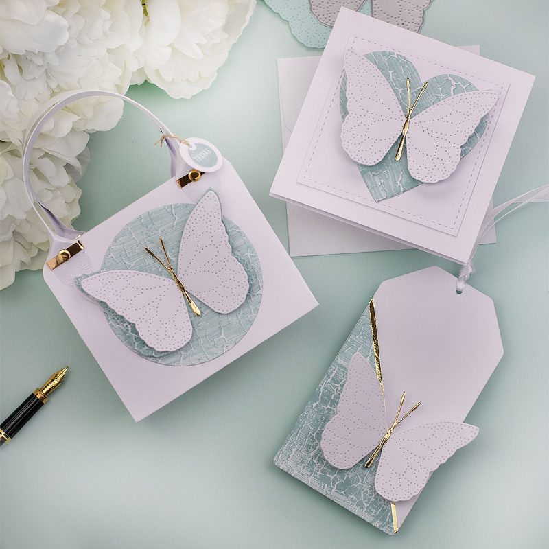 5 easy Butterfly Die-cut Projects Cards Box and Tag