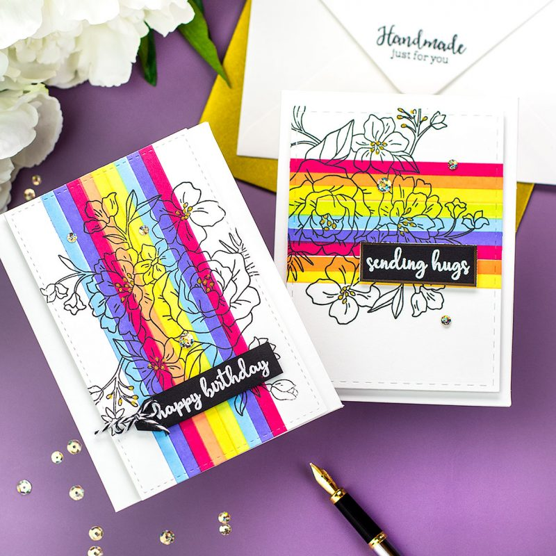 Rainbow Alcohol Marker Backgrounds and more New Tonic Stamp Club