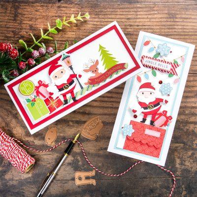 Die-Cut Santa Slimline Xmas Cards Spellbinders Kit October 2020