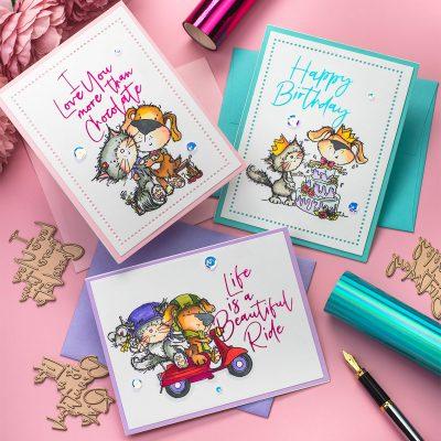 Hot Foiled Cards  Polkadoodles + Spellbinders