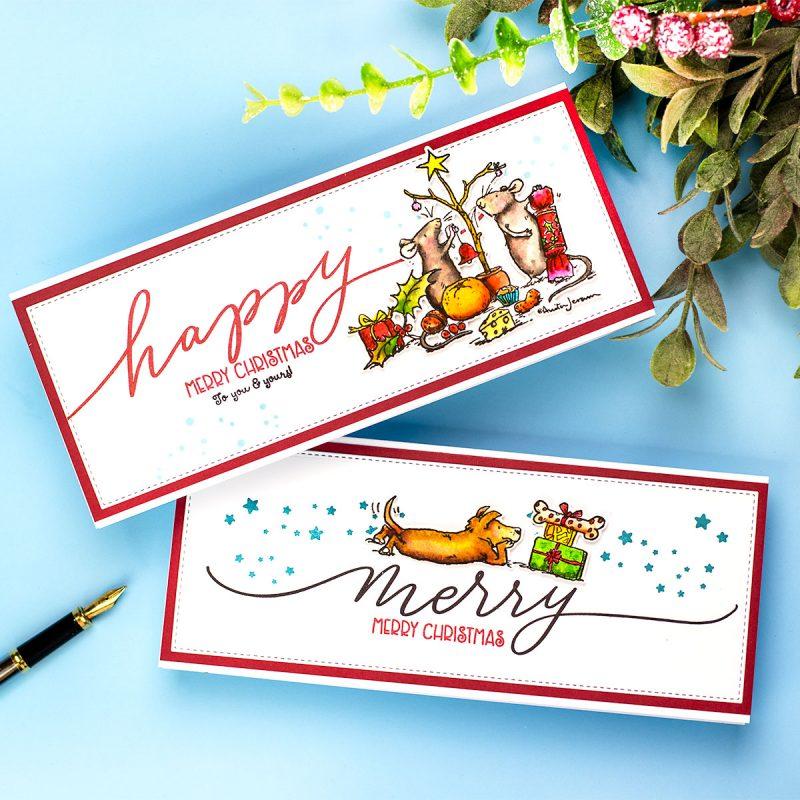 Slimline Cards  Anita Jeram's Xmas Stamps and  Holiday Sparkle Greetings