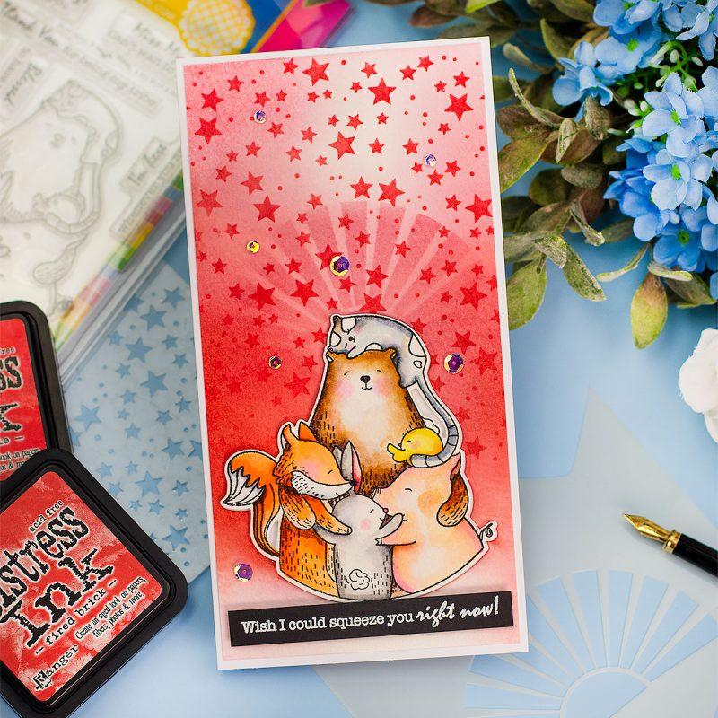 Multi -Stencilled Slimline Card Bear Hugs Waffle Flower